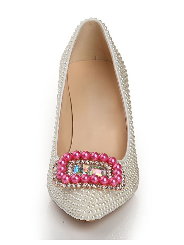 Patent Leather Perler Square Buckle Pointed Toe Høy Hæler (s2lsdn1105lf)