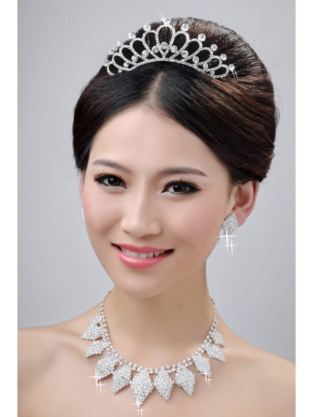 Alloy Clear Wedding Headpieces Necklaces Earrings Set